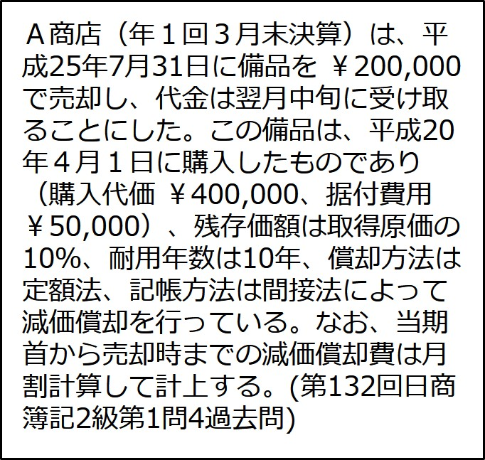 第132回 日商簿記2級 第1問 4 【固定資産の売却】