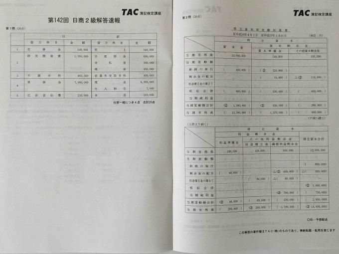 TAC142日商簿記模範解答集 解答