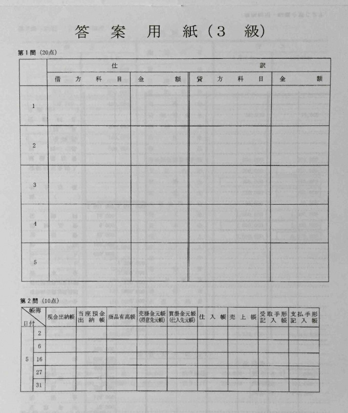 資格の大原143回日商簿記解答速報 答案用紙
