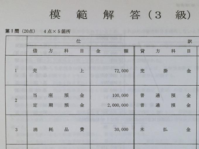 資格の大原144回日商簿記解答速報 模範解答