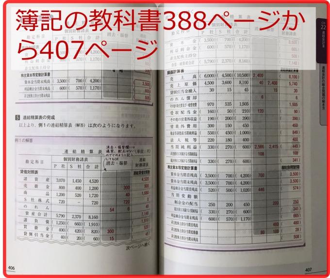 日商2級簿記の教科書の連結精算表