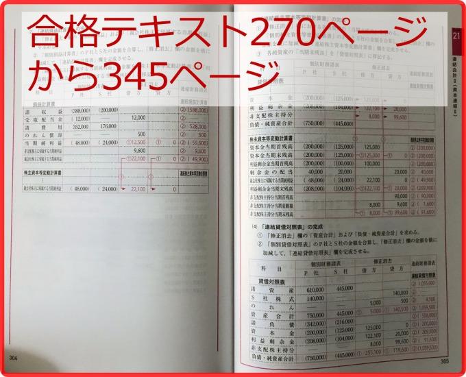 日商2級合格テキストの連結精算表